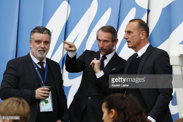 President Laurent Nicollin of Montpellier Herault SC JeanClaude Blanc of PSG and Michel DerZakarian during the Ligue 1 match between Paris...