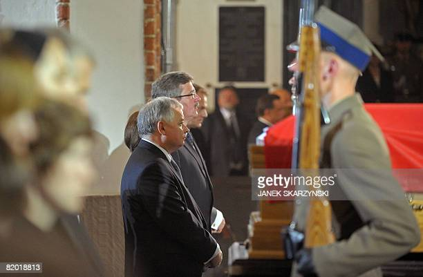 President Lech Kaczynski and speaker of the Parliament Bronislaw Komorowski attend a memorial service at the Warsaw's Cathedral for Bronislaw Geremek...