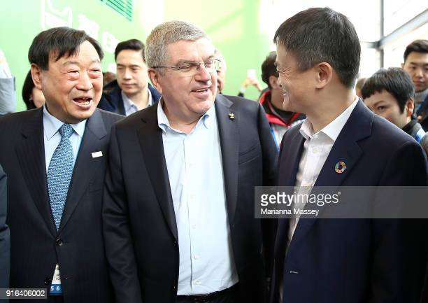 President Lee Heebeom IOC President Thomas Bach and Alibaba Group Executive Chairman Jack Ma arrive at the Alibaba Showcase at the PyeongChang 2018...