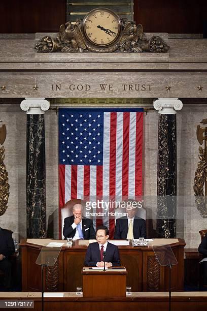 President Lee Myungbak of South Korea flanked by Vice President Joe Biden and Speaker of the House Rep John Boehner addresses a joint session of...