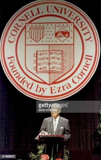 President Lee TengHui of Taiwan delivers a lecture at his alma mater of Cornell University 09 June in Ithaca New York Lee was granted a special visa...