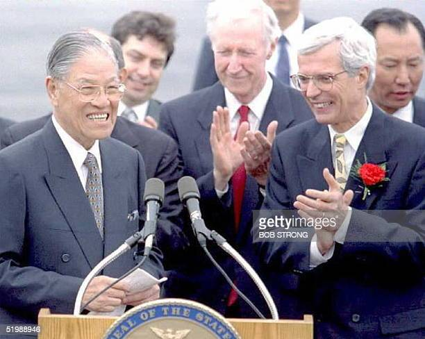 President Lee TengHui of Taiwan is applauded after his introduction at a ceremony in Syracuse New York 08 June after he arrived for a private visit...