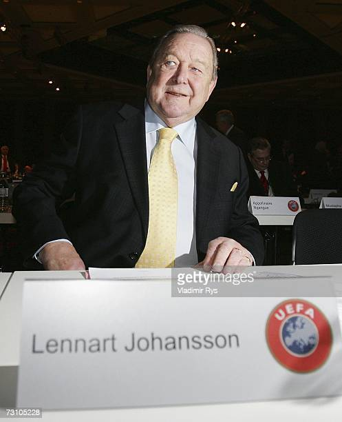 President Lennart Johansson looks on during the first day of the 2007 UEFA Congress at the Congress Center on January 25, 2007 in Dusseldorf, Germany.