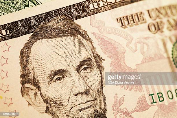 President Lincoln on a US Dollar Bill (High Resolution Image)