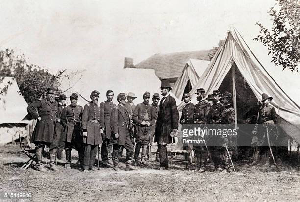 President Lincoln visits General George B McClellan and his staff at his camp near Sharpsburg Maryland on October 3 a few weeks after the Battle of...