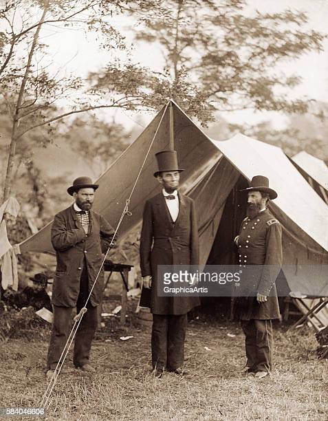 President Lincoln with Allan Pinkerton and General McClernand at the Antietam battlefield October 3 1862 Print from a wet collodion negative