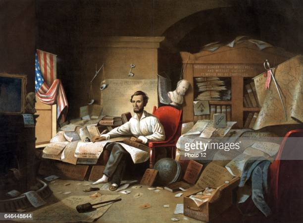 President Lincoln writing the Emancipation Proclamation l January 1863 Lithograph after painting by Blythe A bust of Lincoln's Unionist predecessor...