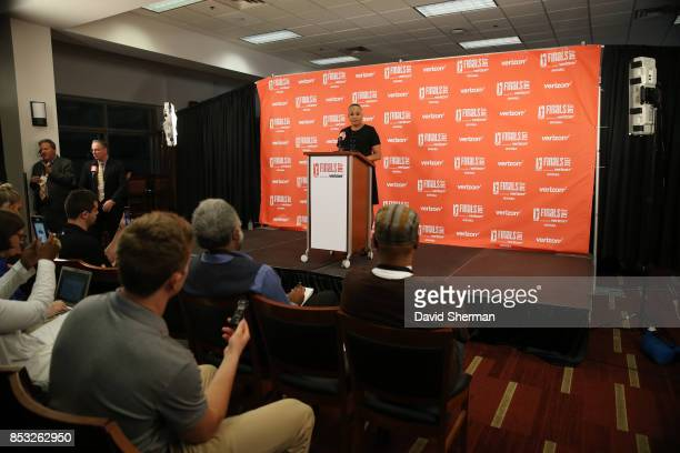 President Lisa Borders addresses the media in a pregame press conference before the game between the Los Angeles Sparks and the Minnesota Lynx in...