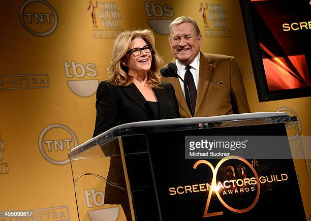 President Lisa Paulsen and CEO and SAGAFTRA President Ken Howard speak at the 20th Annual Screen Actors Guild Awards Nominations Announcement at...