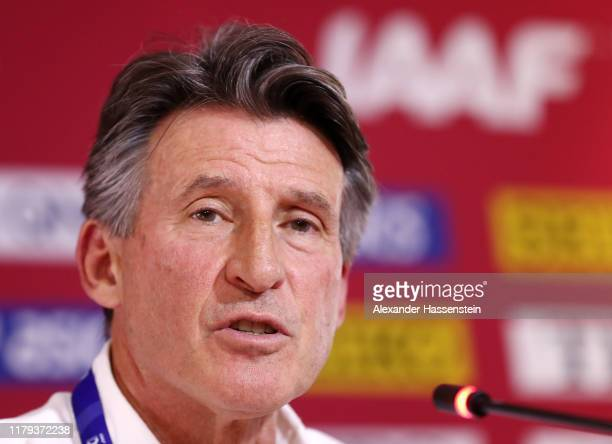 President Lord Sebastian Coe speaks during a press conference on day ten of 17th IAAF World Athletics Championships Doha 2019 at Khalifa...