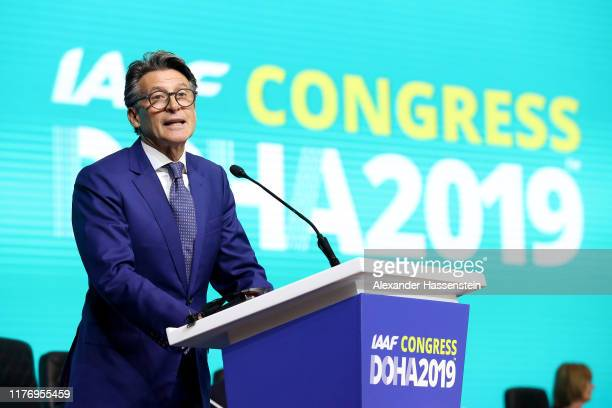 President Lord Sebastian Coe speaks during the 52nd IAFF Congress at Sheraton Grand Doha Resort & Convention Hotel prior to the 17th IAAF World...