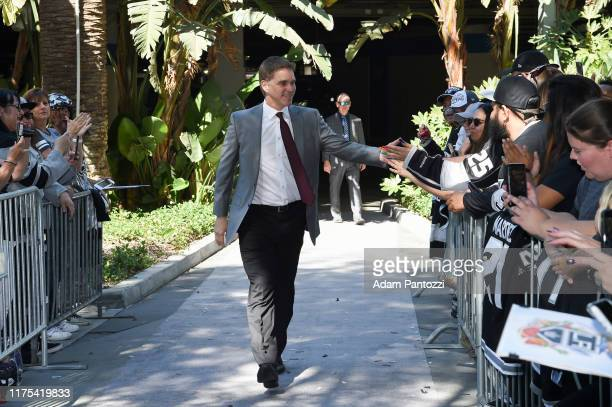 President Luc Robitaille of the Los Angeles Kings arrives before the Los Angeles Kings game against the Nashville Predators at STAPLES Center on...