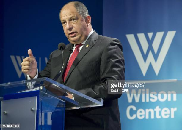 President Luis Guillermo Solis of Costa Rica speaks about immigration at the Woodrow Wilson Center in Washington, DC, August 22, 2016. Solís met...