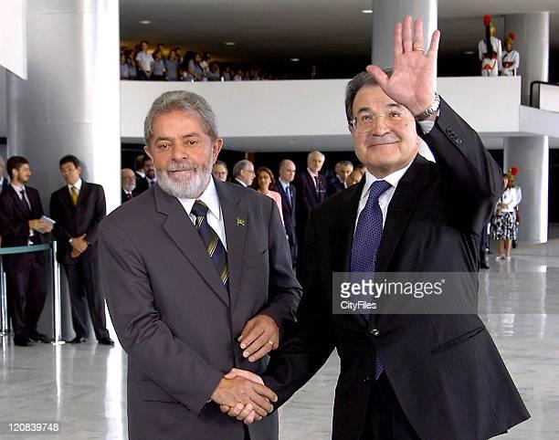 President Luiz Inacio Lula da Silva welcomes Italian President Romano Prodi at Planalto palace for a meeting.