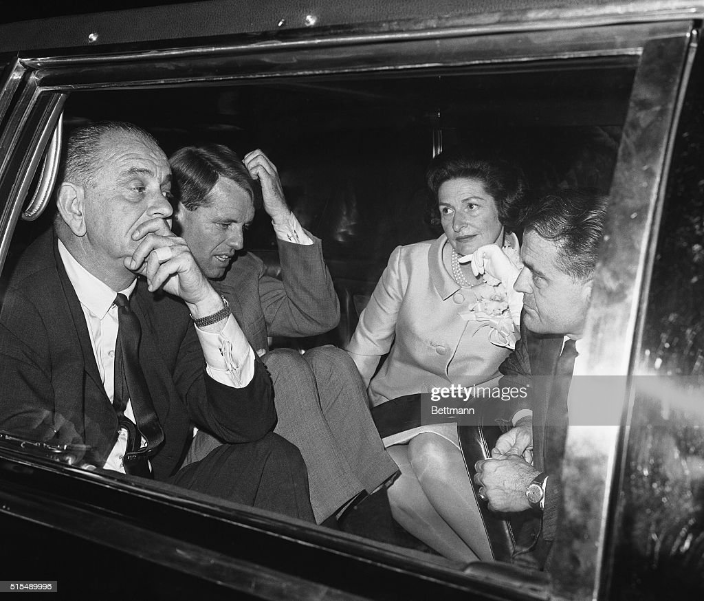 President Lyndon B. Johnson and Democratic Senatorial candidate Robert Francis Kennedy ponder over a puzzling point as they sit in the President's car at La Guardia Airport here just prior to the President's flight back to Washington October 15th. President Johnson and the former U.S. Attorney General toured New York City during the day and ended the days campaigning at a Liberal party rally in Madison Square Garden.