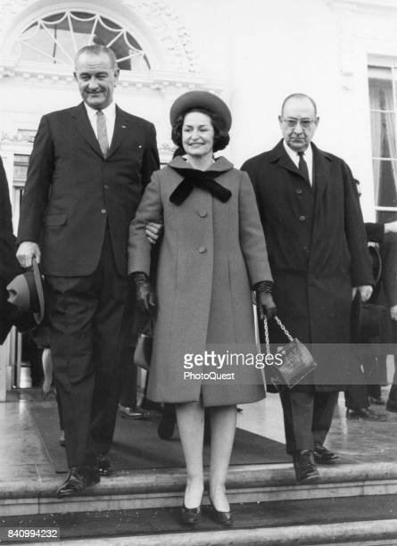 US President Lyndon B Johnson and First Lady Lady Bird Johnson leave the White House on the morning of Inauguration Day Washington DC January 20 1965