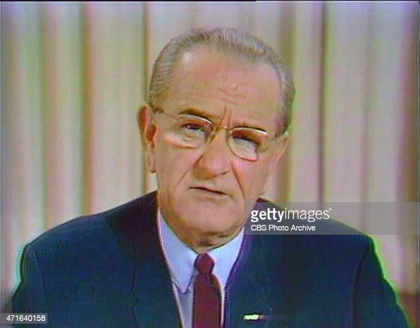 President Lyndon B Johnson announcing he will not seek or accept the nomination for reelection and orders a halt tot he bombing of North Vietnam...