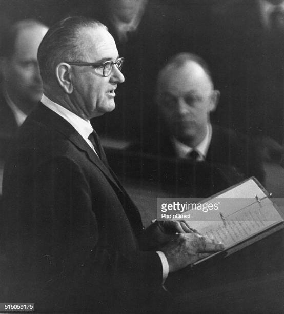 President Lyndon B Johnson delivers his first State of the Union message to a joint session of the US Congress at the Capitol, Washington DC, January...