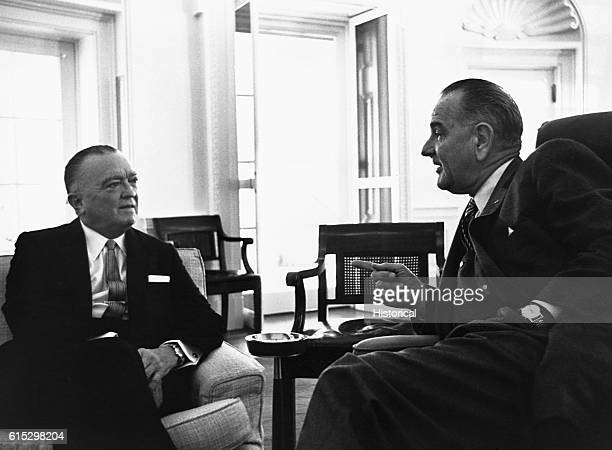 President Lyndon B Johnson meets with FBI Director J Edgar Hoover to discuss the investigation into the assassination of John F Kennedy