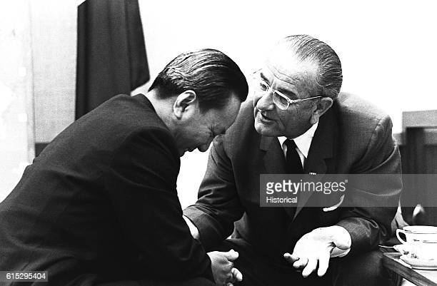 President Lyndon B Johnson speaks with South Vietnam's President Nguyen Van Thieu in Honolulu at their last meeting on July 19 1968