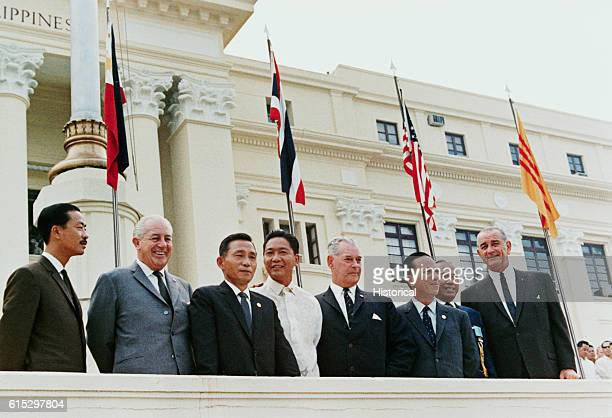 President Lyndon B Johnson with other world leaders at a conference in Manila Left to right Ky Holt Park Marcos Holyoake Thieu Thanom and Johnson