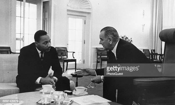 President Lyndon B Johnson with US Civil Rights leader Dr Martin Luther King Jr at the White House,Washington DC, December 1963. Dr King, head of the...