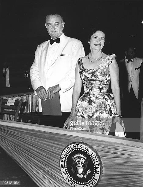 US President Lyndon Johnson and his wife First Lady Lady Bird Johnson attend an unspecified event Washington DC May 26 1964