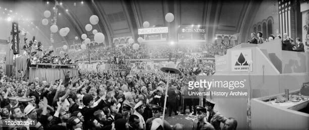 President Lyndon Johnson at Podium during Democratic National Convention, Boardwalk Hall, Atlantic City, New Jersey, USA, photographer Thomas J....