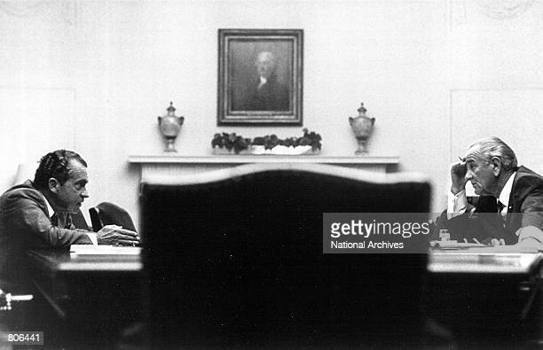 President Lyndon Johnson meets with presidential candidate Richard Nixon July 26 1968 at the White House