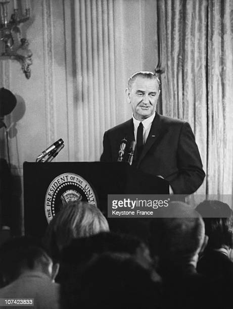 President Lyndon Johnson Press Conference About Dominican Crisis And Vietnam War At White House In Washington On June 1965