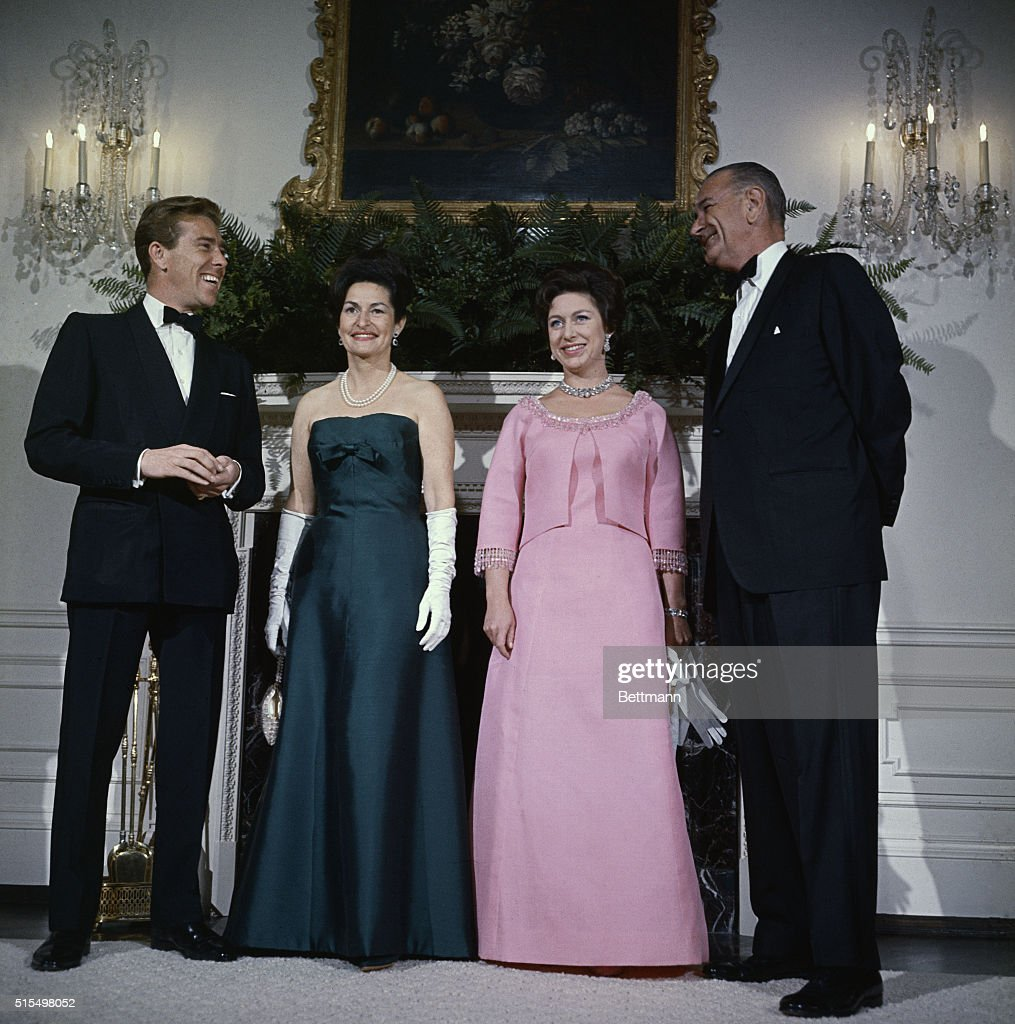 Lyndon Johnson and Wife with Princess Margaret and Lord Snowdon : News Photo
