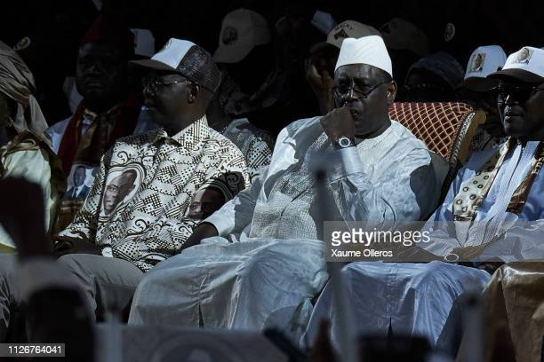 President Macky Sall looks on during his final rally at Leopold Sedar Senghor stadium on February 22 2019 in Dakar Senegal Senegal Presidential...