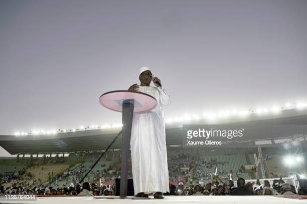 President Macky Sall speaks during his final rally at Leopold Sedar Senghor stadium on February 22 2019 in Dakar Senegal Senegal Presidential...