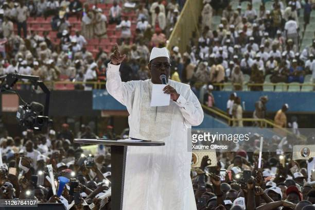 President Macky Sall speaks during his final rally at Leopold Sedar Senghor stadium on February 22 2019 in Dakar Senegal Senegal Presidential...