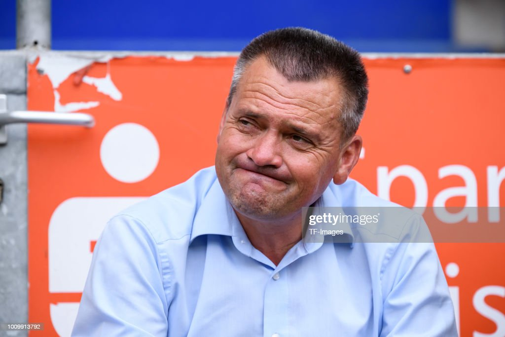 President Manfred Schwabl of Haching looks on prior to the 3. Liga match between KFC Uerdingen 05 and SpVgg Unterhaching at Grotenburg-Stadion on July 29, 2018 in Duisburg, Germany.