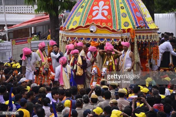 President Manoj Tiwari takes part in pulling a chariot of Lord Jagannath Rath Yatra at Hauz Khas on June 25 2017 in New Delhi India Ratha Yatra or...