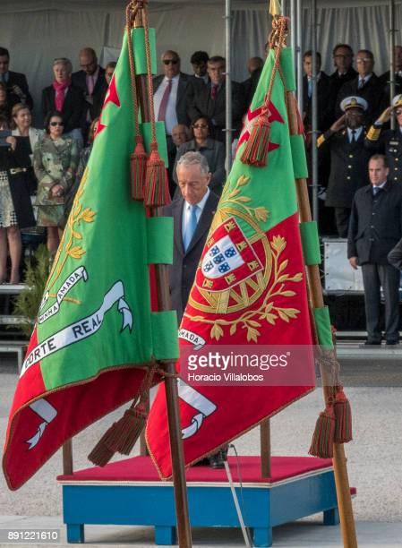 President Marcelo Rebelo de Sousa salutes the national flags at the parade during the ceremony in Praca do Comercio to commemorate Portuguese Navy...