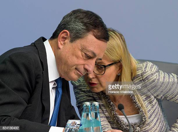 ECB president Mario Draghi and ECB chief press officer Christine Graeff during the press conference at European Central Bank Headquarters in...