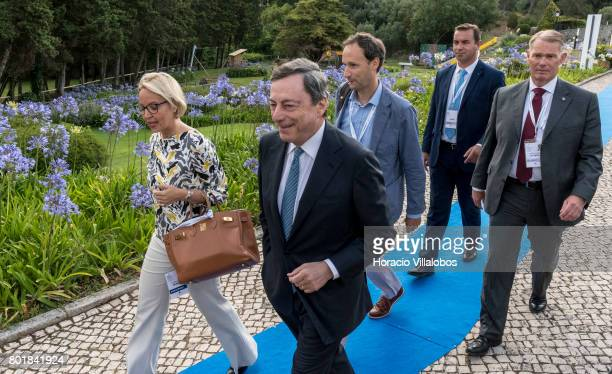 President Mario Draghi arrives accompanied by ECB Director General Communications Christine Graeff to deliver the opening speach at the first...