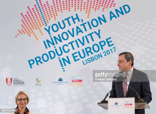 President Mario Draghi is accompanied by ECB Director General Communications Christine Graeff while having a conversation with students of selected...