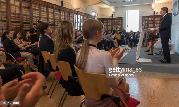 President Mario Draghi is being applauded at the end of his conversation with students of selected universities at the Lisbon School of Economics and...