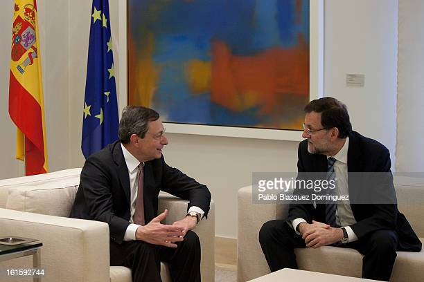 ECB President Mario Draghi meets Spain's Prime Minister Mariano Rajoy at Moncloa Palace on February 12 2013 in Madrid Spain Draghi was invited to...
