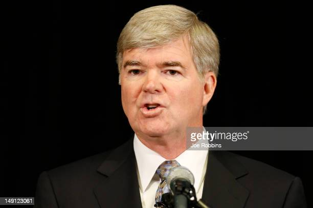 NCAA president Mark Emmert speaks during a press conference at the NCAA's headquarters to announce sanctions against Penn State University's football...