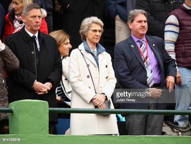 LTA president Martin Corrie Birgitte Duchess of Gloucester and ITF president David Haggerty watch play during day three of the Davis Cup World Group...