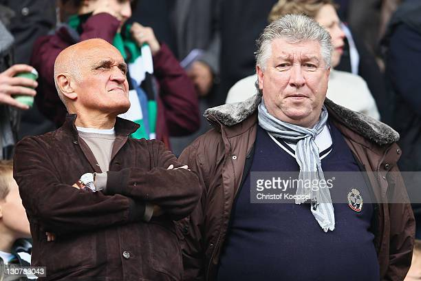 President Martin Kind Dieter Schatzschneider of Hannover look on prior to the Bundesliga match between Borussia Moenchengladbach and Hannover 96 at...