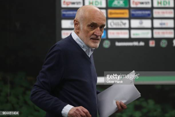 President Martin Kind of Hannover pose during the press conference before the Bundesliga match between Hannover 96 and 1 FSV Mainz 05 at HDIArena on...