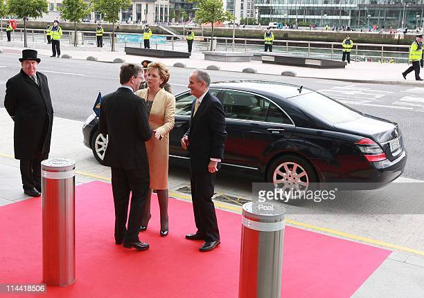 President Mary McAleese and Dr Martin McAleese pictured meeting British Ambassador Julian King at the Convention Centre Dublin during Queen Elizabeth...