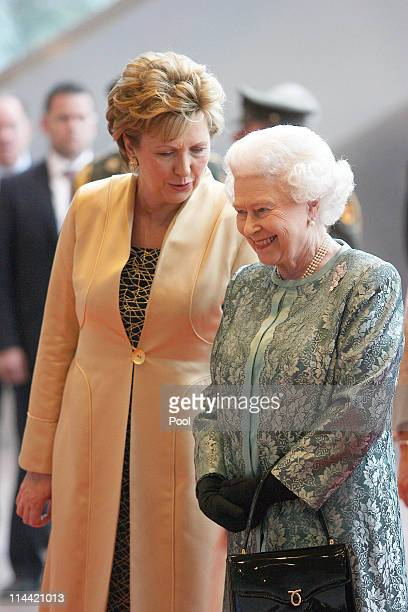 President Mary McAleese and Her Majesty Queen Elizabeth II at the Convention Centre on May 19, 2011 in Dublin, Ireland. The event held in the...