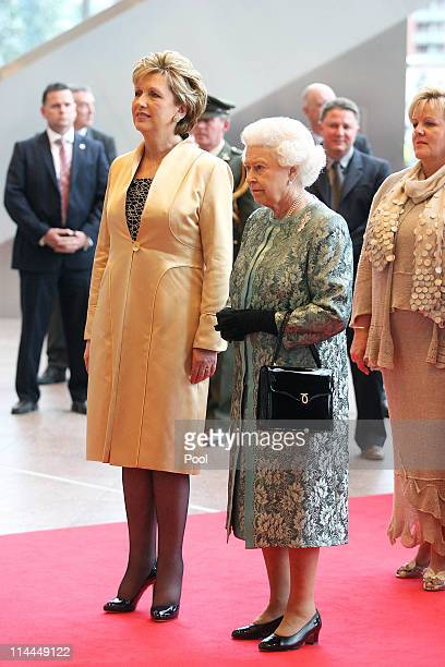 President Mary McAleese and Her Majesty Queen Elizabeth II at the Convention Centre on May 19 2011 in Dublin Ireland The event held in the Convention...