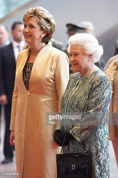 President Mary McAleese and Queen Elizabeth II at the Convention Centre on May 19, 2011 in Dublin, Ireland. The event held in the Convention Centre,...